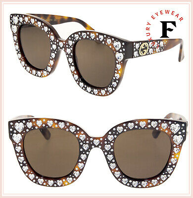 15fd5eb8b GUCCI HOLLYWOOD FOREVER 0116 Havana Crystal Heart Stud Sunglasses GG0116S