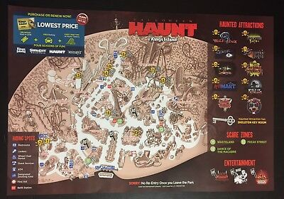 2017 Kings Island Amusement Park Map Guide Halloween Haunt official OHIO