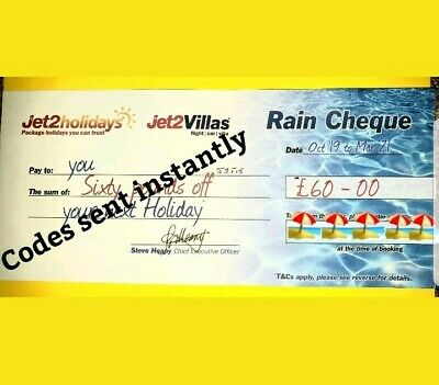 10×Jet2 Holidays £60Rain Cheque voucher valid till October 2020.Exp DEC 2019