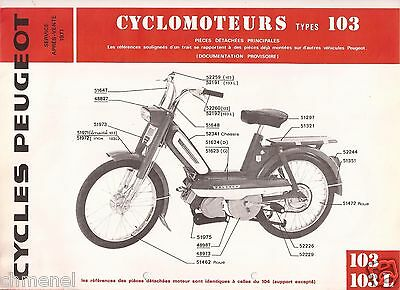 PEUGEOT MOTORCYCLES Type 103 VINTAGE ORIGINAL 1960's RARE ADVERTISING BROCHURE
