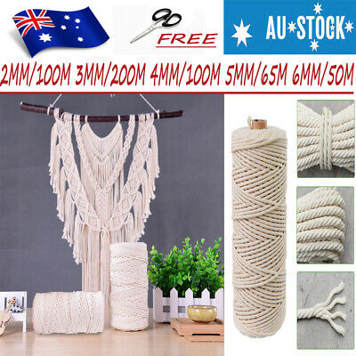 2/3/4/5/6mm Natural Cotton Cord Braided Rope Cord Hand Beige Craft Macrame DIY