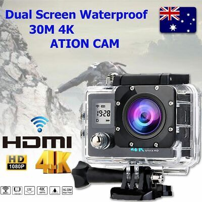 Ultra HD 4K 1080p WIFI Waterproof Sports Action Video Camera Fit Mount charger