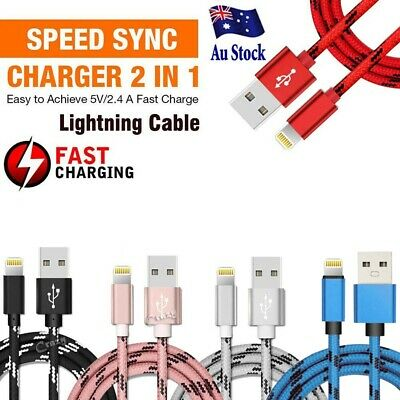 Braided USB Lightning Cable Cord Data for Apple Charger iPhone iPad 6 X 8 7 5