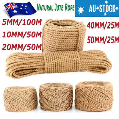 NEW 5 10 20 40 50mm DIY Natural Jute Rope Burlap Hemp Twine Cord Twisted String