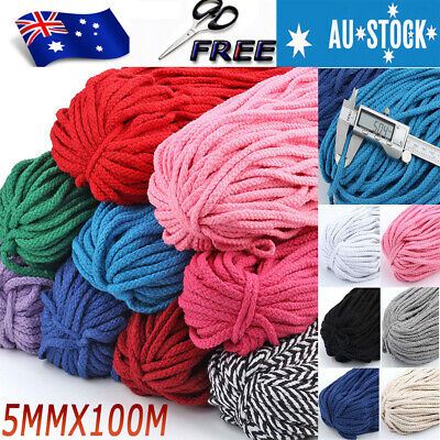 5mm 100m Natural Cotton Craft Macrame Artisan Rope Craft String Twisted Cord AU