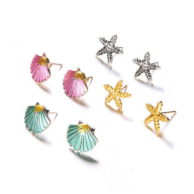 4 Pairs Women Boho Starfish Shell Ear Stud Earrings Set Summer Jewelry Funny