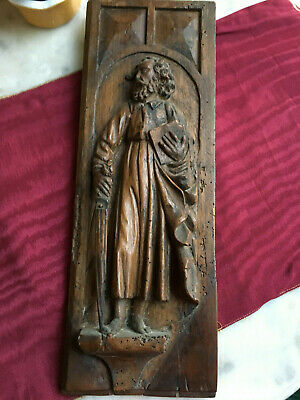 Antique French 18Th C Saint Matthieu Hand Carved Walnut Wood Panel Wall Hanging