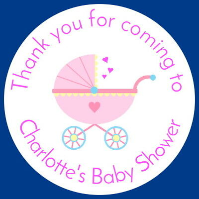 bs876 STICKERS, 24 BABY BOY PERSONALISED GLOSSY SHOWER CHRISTENING