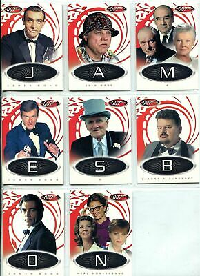 James Bond 007 - 40th Anniversary - Letters Game 8 of 9 Card Chase NEAR Set - NM