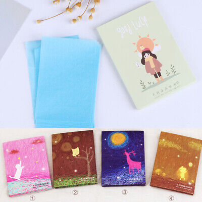 50Pcs Makeup Tissue Control Oil Skin Absorbing blotting Face Cleaning Paper EW
