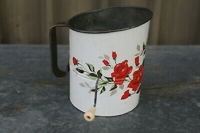 Vintage Flour Sifter Willow Metal Sifter with Red Rose Floral Pattern Kitchen