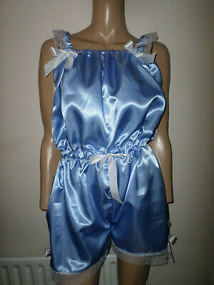 Adult Baby Sissy Blue   Satin Play Sleepsuit Bows 30-45  Waist White Lace