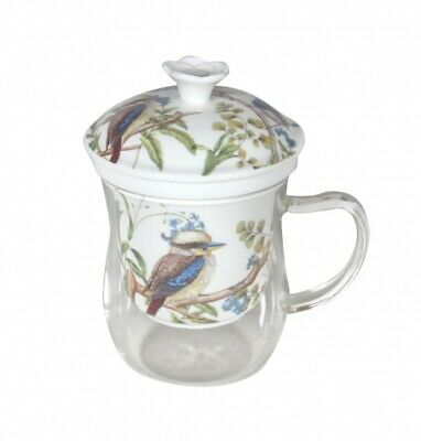 Australian Birds Glass Cup&Porcelain Stainer Wit Fine Bone China Chinaware Gift