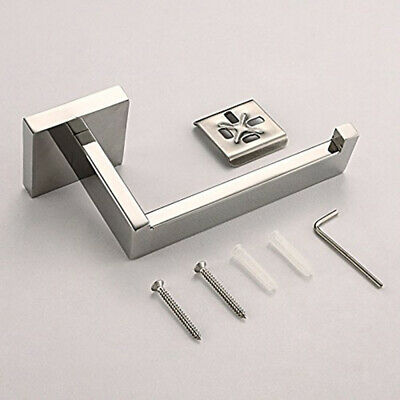Polished Chrome Stainless Square Toilet Paper Roll Holder Rack Hook Bathroom AU