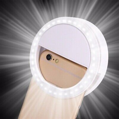 Selfie LED Ring flash Light Bright clip For Mobile Phone Camera Rechargeable