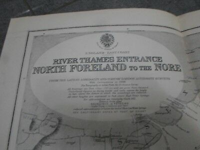 Nautical Chart Map. RIVER THAMES ENTRANCE, NORTH FORELAND to THE NORE. ENGLAND.