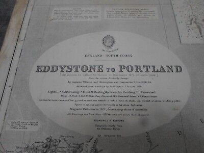 Nautical Chart Map. EDDYSTONE to PORTLAND. ENGLAND. 1931. THE CHART IS FULL SIZE