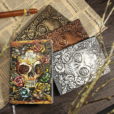 A5 Embossed Skull Leather Cover Travel Journal Vintage Diary Book Notebook Gift