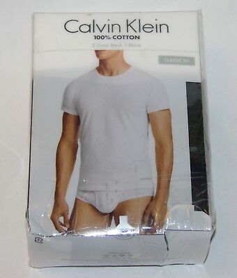 New Mens 3 Pack Calvin Klein Classic Fit Crew neck T-Shirts MSRP $39.50