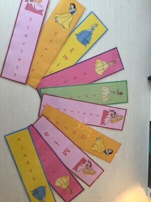 x5 PRINCESS CHILDRENS BOOKMARKS PERSONALISED. LAMINATED. BRAND NEW. Parties