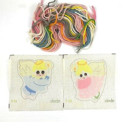 DeDe Hand Painted Needlepoint Canvas Lot of 2 Angels with Yarn