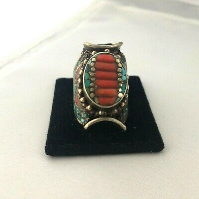 Tibetan Turquoise Red Coral Silver Plated Ring Size 8.5