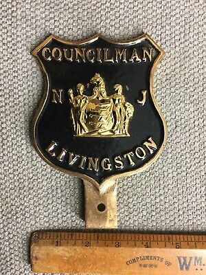 Vintage Livingston New Jersey NJ Councilman License Plate Topper Car Badge