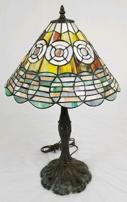 Vintage Tiffany style stained glass table lamp Victorian boudoir