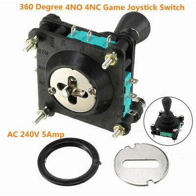 Momentary Black 360 Degree 4NO 4NC Arcade Joystick Switch AC 240V 5A