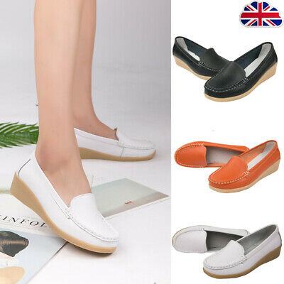 Womens Faux Leather Wedges Loafers Slip On Walking Casual Toning Shoes Moccasins