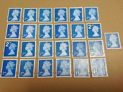 25 x 2ND CLASS UNFRANKED STAMPS OFF PAPER NO GUM F/V £15.25