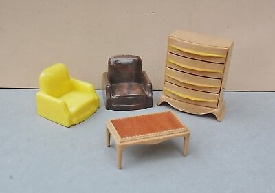Plasco Toy Doll Furniture Plastic Vintage 2 Club Chair Table Chest Drawers Lot 4