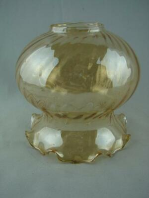 Superb Vintage Moulded Amber Glass Ribbed, Frilled Wall Light Shade 5.4Cm Fitter