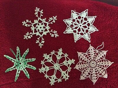 Vintage 5 Handmade Crochet Snowflakes Tree Decorations Pink White Green Lot