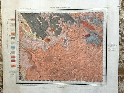 Fantastic 1st Edition (1855) hand-coloured Geological Map Leicester LXIII NW