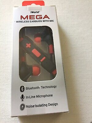 892e61e2694 iWorld Mega Wireless Earbuds With Mic Red And Black Bluetooth Technology