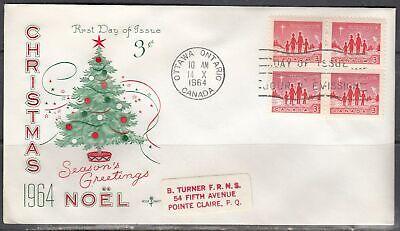 Canada Scott 434  Blk 4 Rose Craft FDC - Christmas 1964 Issue