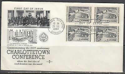Canada Scott 431 Blk 4 Rose Craft FDC - Charlottetown Conference
