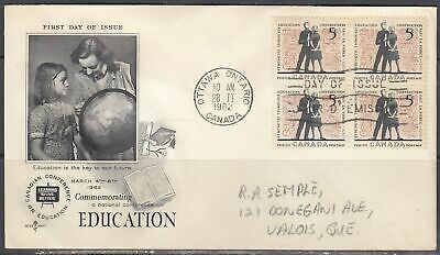 Canada Scott 396 Blk 4 Rose Craft FDC - Education Issue