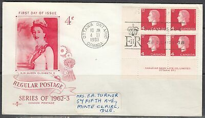 Canada Scott 404 LL Pl #1 Rose Craft FDC - 1962-3 Cameo Issue