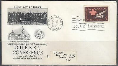 Canada Scott 432 Rose Craft FDC - 1964 Quebec Conference Issue