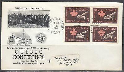 Canada Scott 432 Blk 4 Rose Craft FDC - Quebec Conference Issue