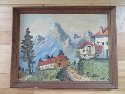 Antique Signed by artist C. Sheppard oil painting wood frame master vintage art