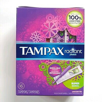 Pack of 3 Tampax Radiant Plastic Tampons Super Absorbency, Unscented, 16 in each