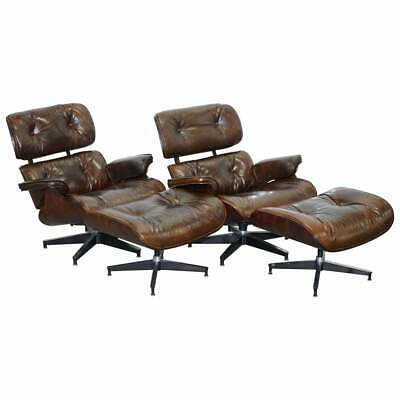 Pair Of Vintage Heritage Brown Leather Lounge Armchairs & Matching Ottoman