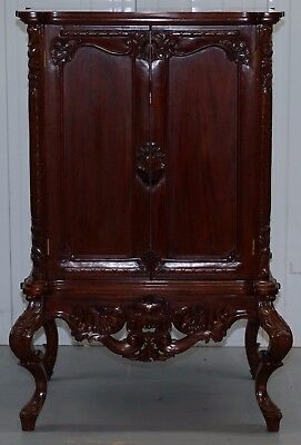 Stunning Solid Mahogany Hand Carved Ornate Drinks Media Cabinet Storage Shelve