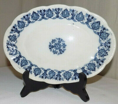 Antique Blue and White Transfer |Ware Plate, Small Oval.