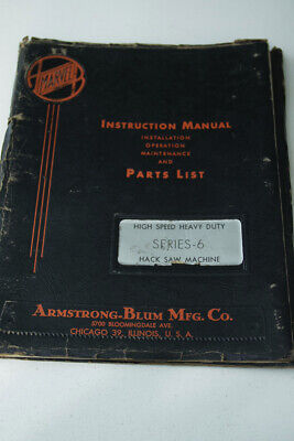 Marvel Series 6 Hack Saw Operation and Parts Manual