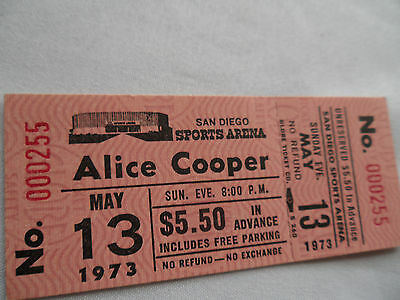 ALICE COOPER__1973__Original Unused CONCERT TICKET__San Diego__EX+
