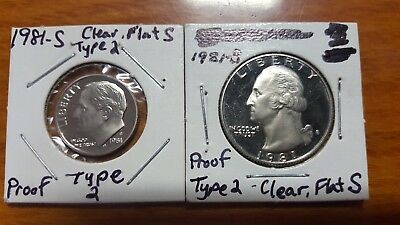 1981 PROOF TYPE 2 CLEAR FLAT S Roosevelt 10 Cents Dime Washington Quarter Dollar